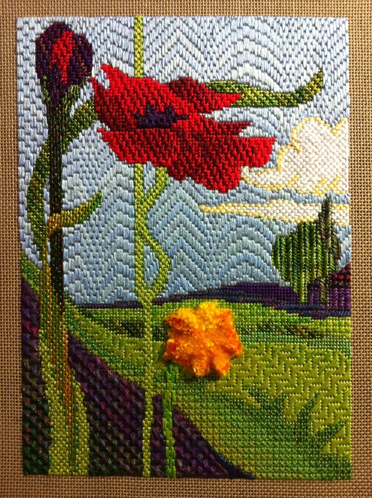 Royal School of Needlework canvas stitches embroidery- stitched by Deborah Wilding 2013 http://www.royal-needlework.org.uk/, poppy needlepoint