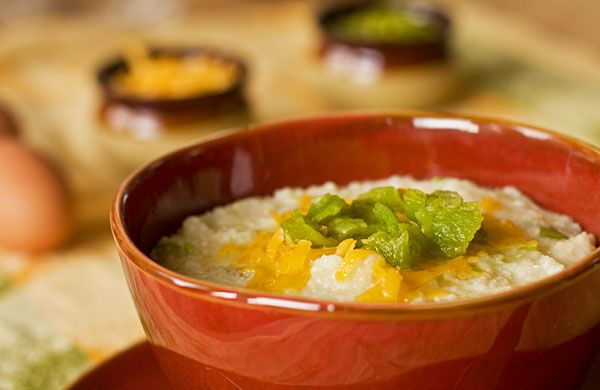 grits and green chile with cheese (serve with spicy shrimp or top with ...