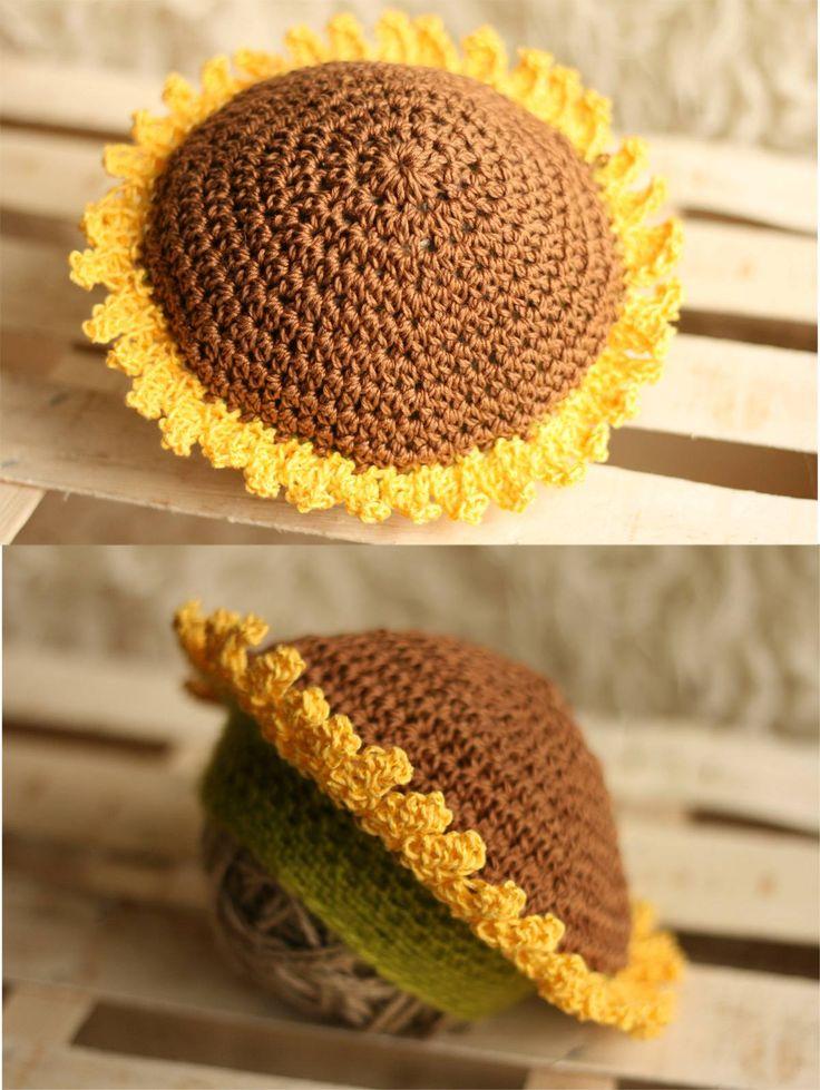 Sunflower Crochet Baby Hat Pattern : sunflower hat crochet hats Pinterest