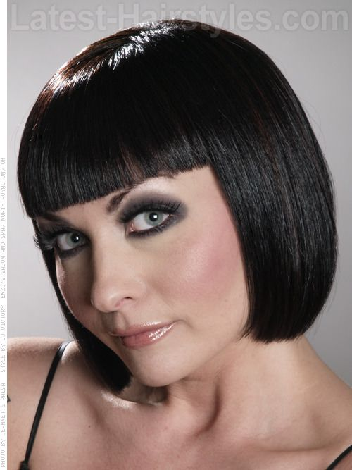 Cleopatra Look Blunt Bob with Fringe | haircuts | Pinterest