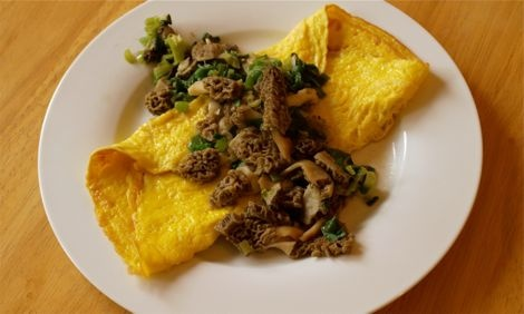 Springtime Omelet for Two with Morels and Green Onions