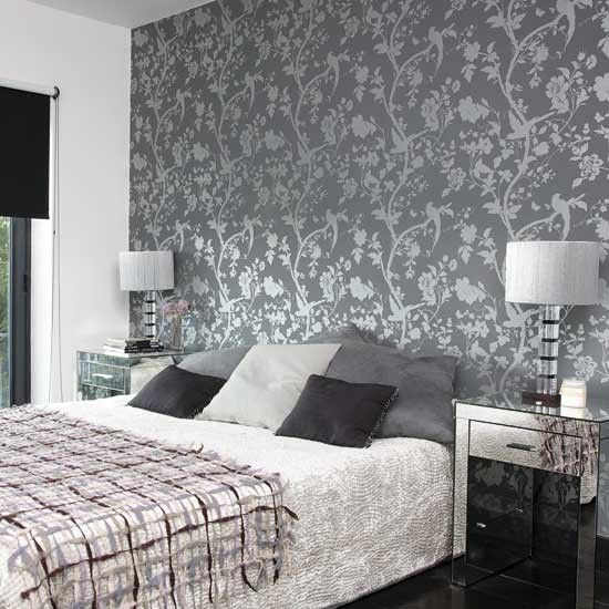 Bedroom with patterned wallpaper our master bedroom for Wallpaper ideas for master bedroom