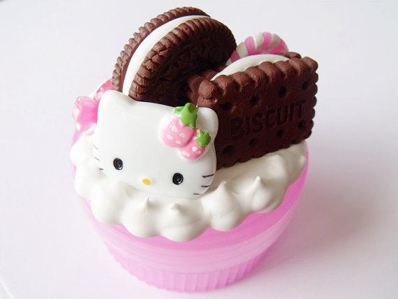 Kawaii Pink Hello Kitty Chocolate Cookies by CapricaAccessories, $12.00