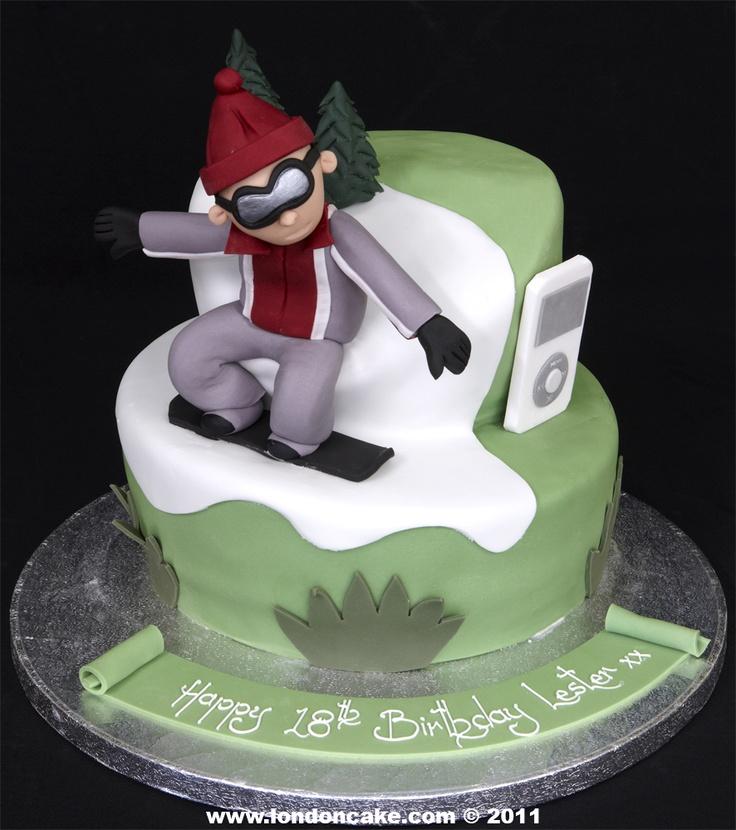snowboarding birthday cake