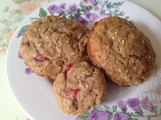 Strawberry banana muffins with quinoa, chia, and flax