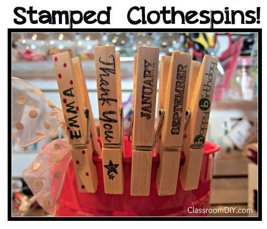 Classroom DIY: DIY Stamped Clothespins