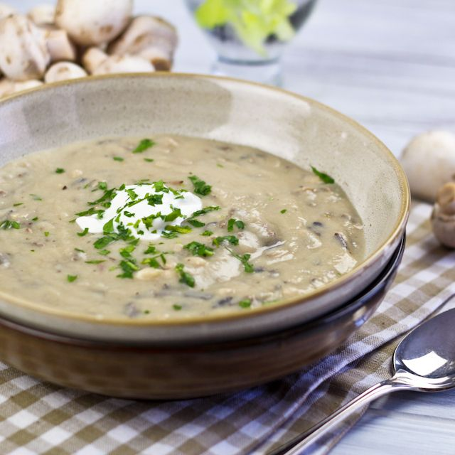 Cream of Mushroom and Wild Rice Soup - oh, ya! I'm trying this with my ...