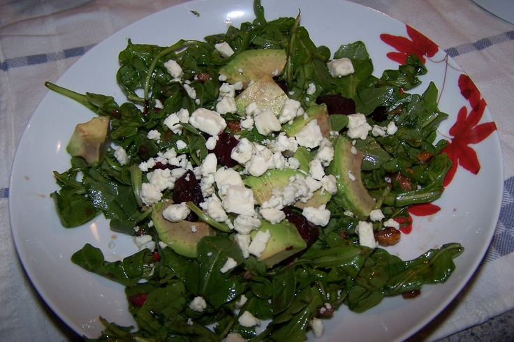 Beet and Goat Cheese Arugula Salad. I substituted blue cheese for goat ...