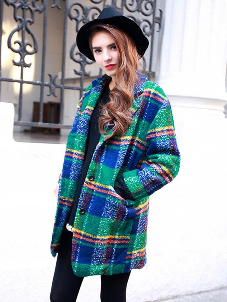 Beautiful Oversized Wool Coat In Colorful Plaid With Black Leggings And Cap