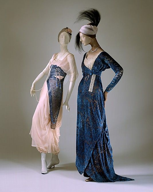 Silk evening dresses, French, 1911-15