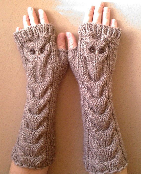 Owl Fingerless Gloves Knitting Pattern : Owl Alpaca Brown Beige Long Hand Knit Cable Pattern by nastiadi knit and cr...