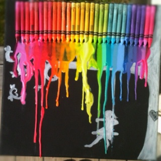 After being inspired but countless other crayon melting artists I figured it was time to try my hand at it. I left all the colour names facing out instead of the brand. I used crayola as well as no name brands and have found crayola work the best