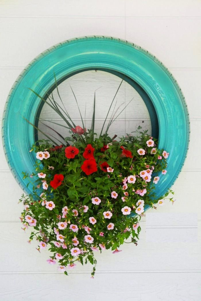 Painted tire planter plant this pinterest - Painted tires for flowers ...