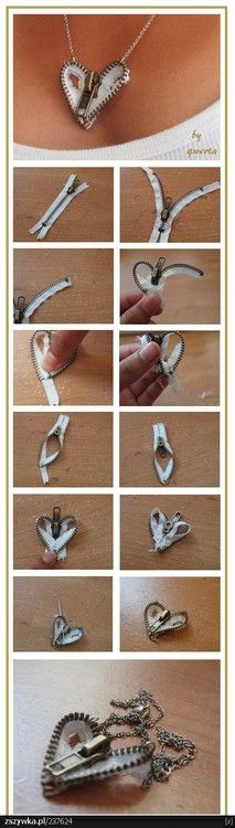 Zipper Necklace heart from 28 Useful DIY Fashion Ideas | Accessories ...