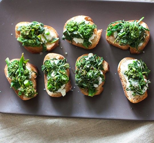 goat cheese rapini toasts: Baguette, goat cheese, lemon, basil, chili ...