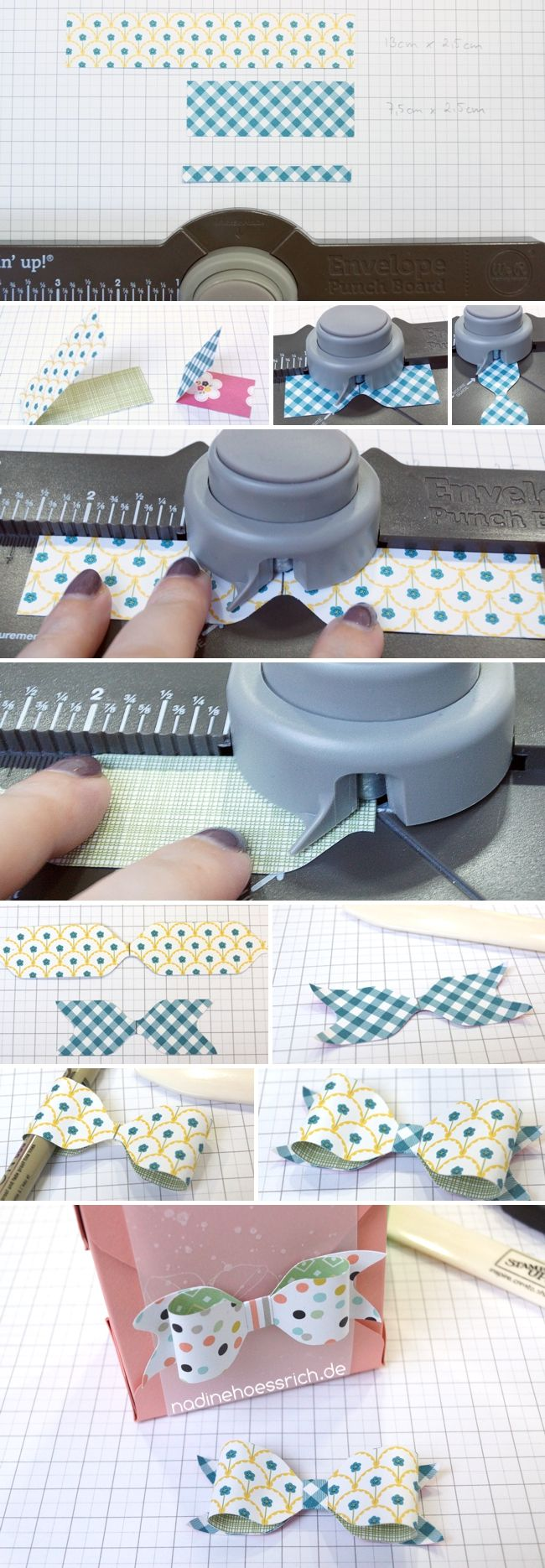 paper crafting photo tutorial: paper bows with the Envelope Punch Board ... luv the coordinating double sided papers she uses ... Stampin' Up!
