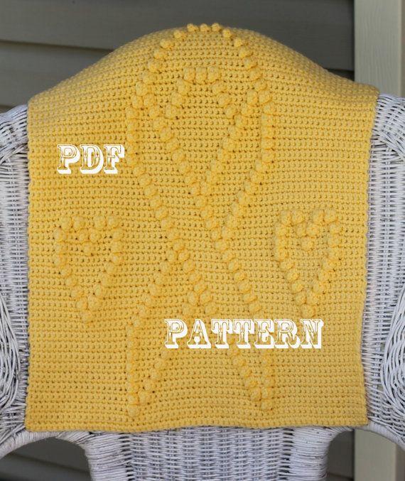 Crochet Patterns Yellow : Crochet Pattern - Crochet Blanket Block - Yellow Ribbon and Hearts ...