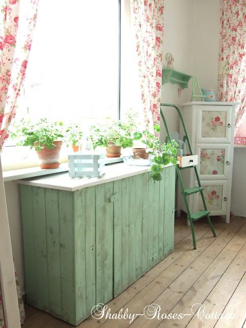 <3 love this chippy green cabinet