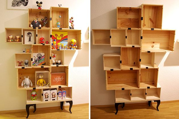 Shelving Units Upcycled From Wine Boxes