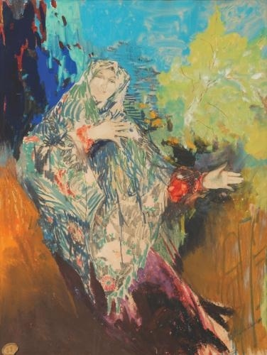 Filipp Malyavin - Dancing Peasant Woman in a Colourful Shawl