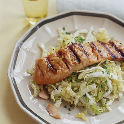 Soy-Ginger Grilled Salmon and Napa Sesame Slaw | Recipe