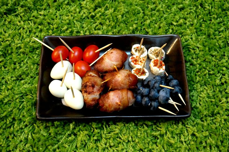World cup nibbles - cherry tomatoes, quail eggs, bacon wrapped ...