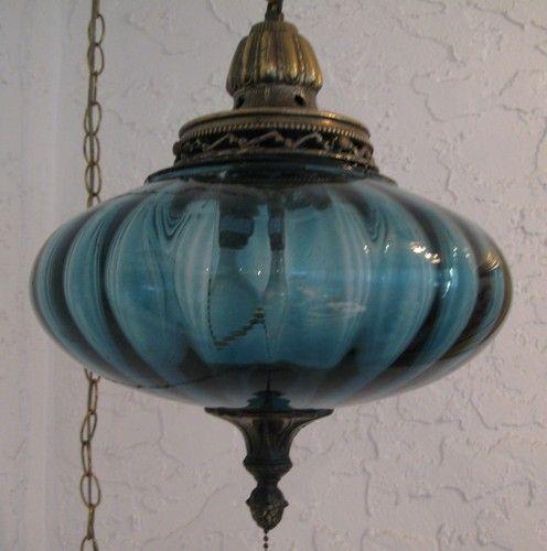 wonderful vintage blue glass swag lamp vintage swag lamps. Black Bedroom Furniture Sets. Home Design Ideas