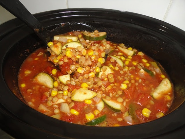 Lentil, Corn and Tomato Stew- good, used peppers instead of zucchini ...