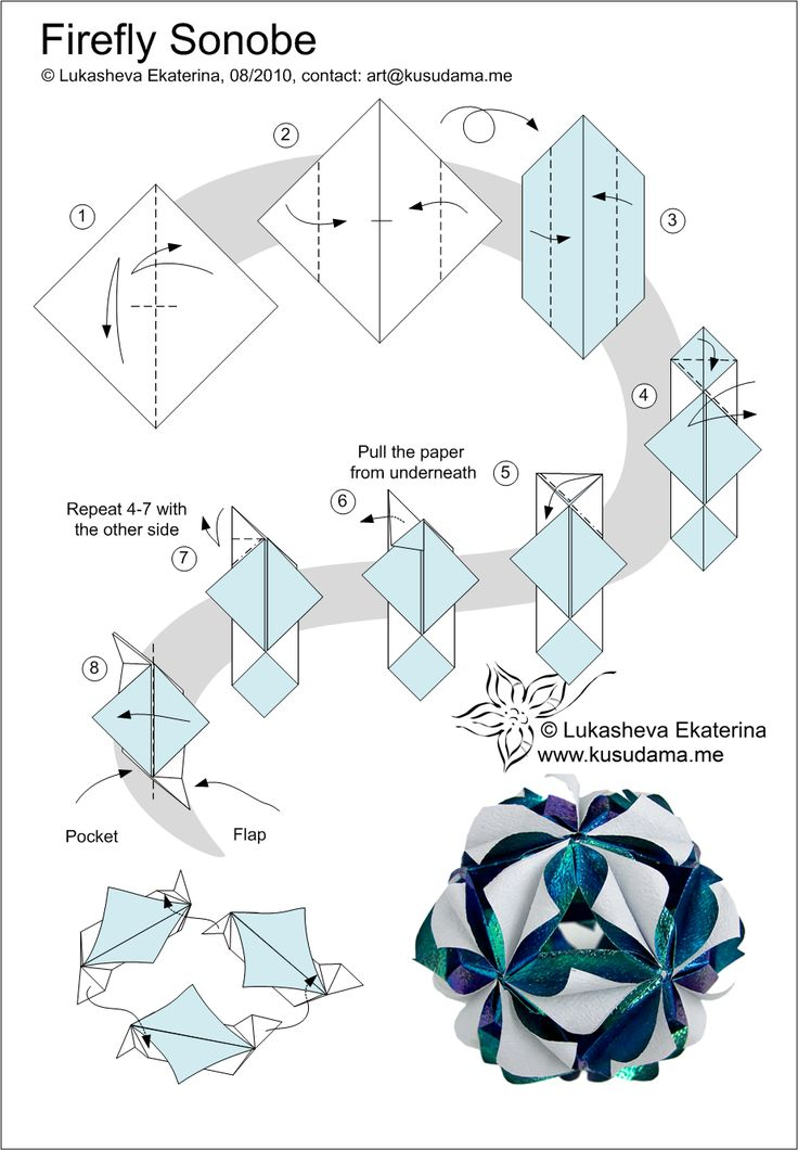 Схемы оригами из бумаги шары