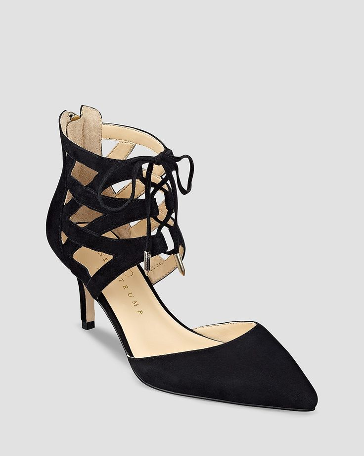IVANKA TRUMP Pointed Toe Lace Up Pumps - Necila High Heel
