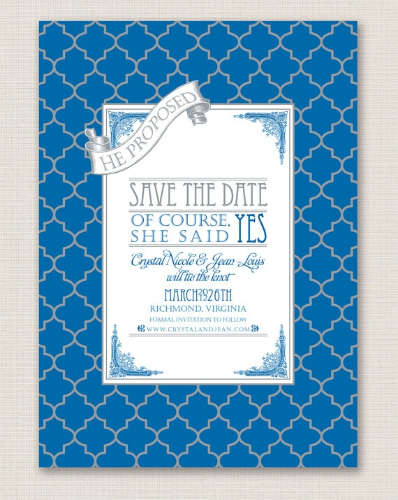 I LOVE this Save-the-date! Maybe change the colors slightly, but I think it's formal, yet fun!