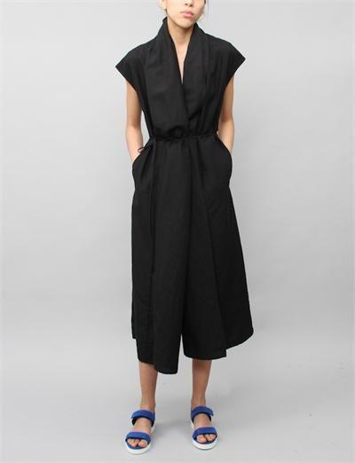 Creatures of Comfort Rodiline Dress- Silk Linen Black