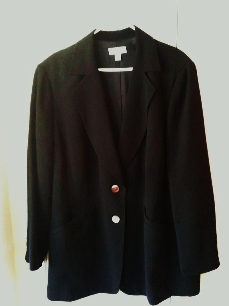 Nordstrom Encore Plus Woman Black Slim Fit Wool Blazer Size 24W Retail ...
