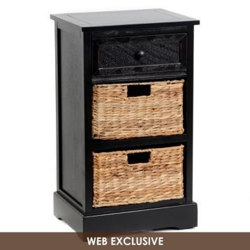 black side table with storage baskets for the home