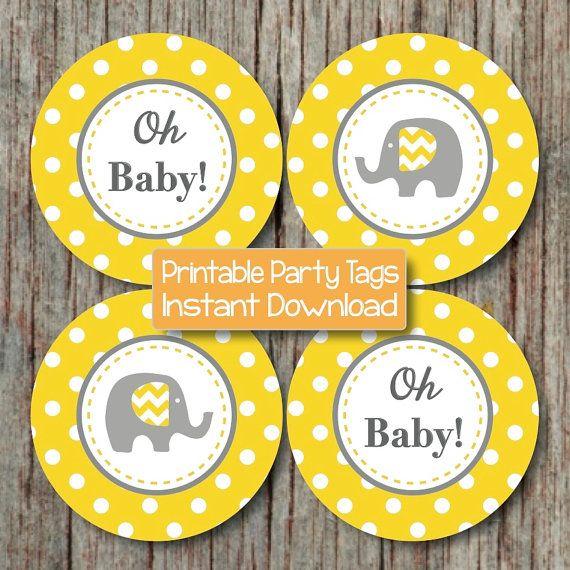 yellow grey elephant baby shower decorations by bumpandbeyonddesigns