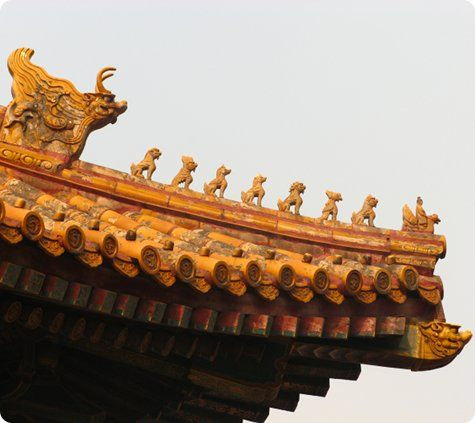 Golden roof tiles... only in the Forbidden City... and leading the ...