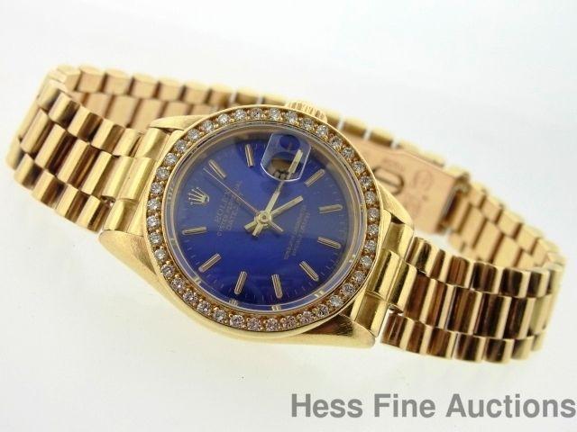 ... 18k Gold Rolex President 69178 Diamond Bezel Blue Dial Wrist Watch