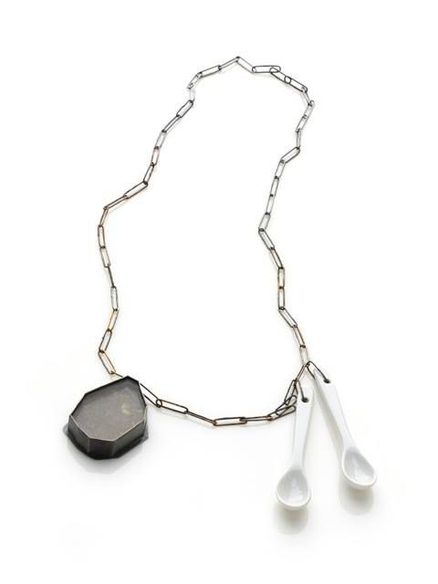 Amy Tavern We Walk on the Same Ground brass, sterling silver, porcelain spoons, dirt collected by 23 friends