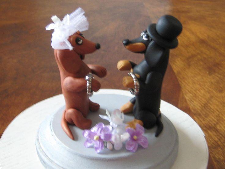 Weiner Dog Wedding Cake Topper