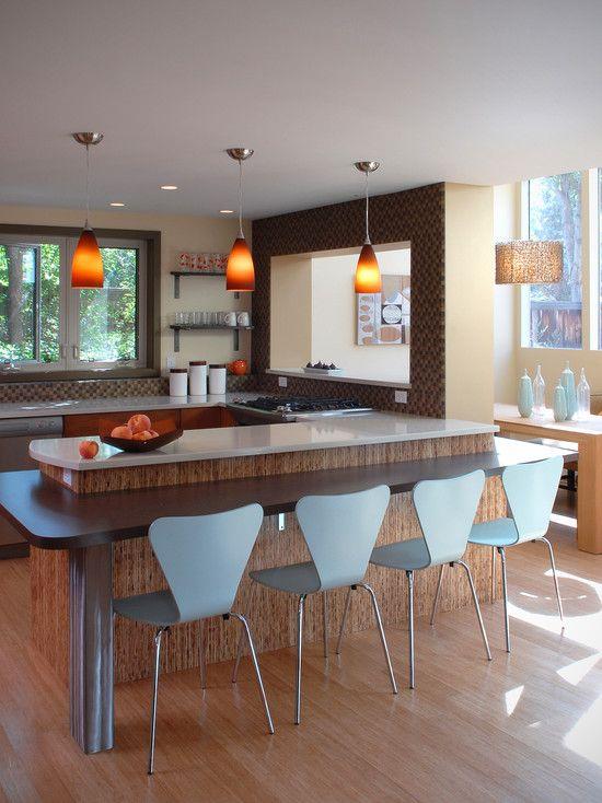 Bi level island seating kitchens pinterest for Bi level kitchen remodel ideas