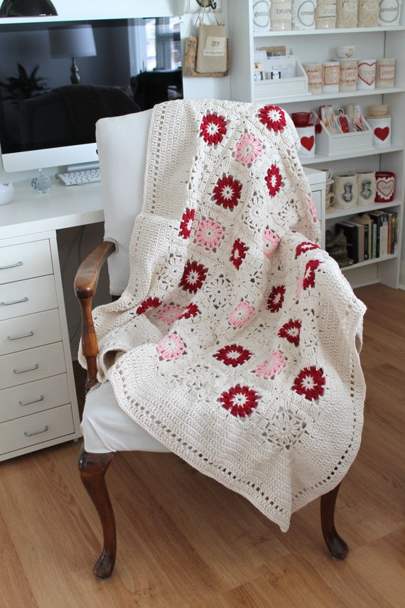 Crochet Lap Blanket : Handmade Crochet Lap Blanket Red Pink and by creativecarmelina, $60.00