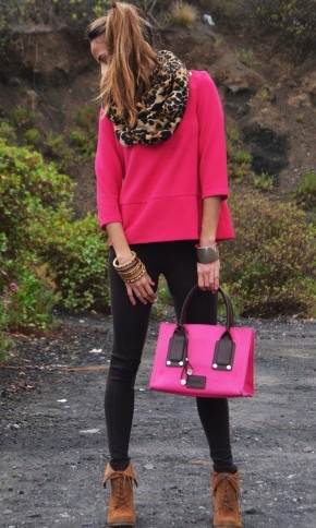 Leopard scarf, fucsia top, booties