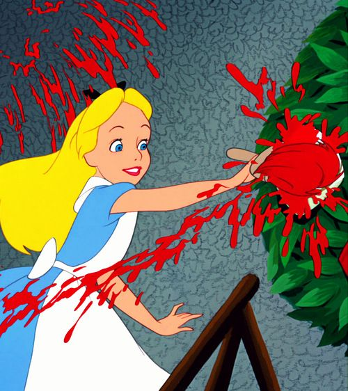 alice wonderland painting roses red