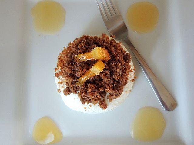 Valencia Orange Cheesecake with Caramelized Gingersnap Crust
