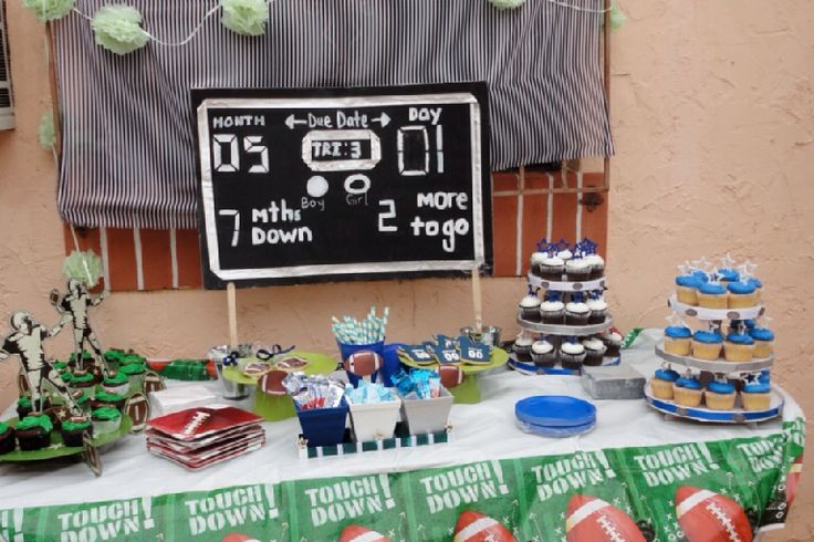 dallas cowboys baby shower cake scoreboard desert table