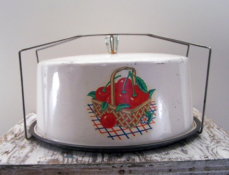 Sweet Cherry Vintage Tin Cake Carrier