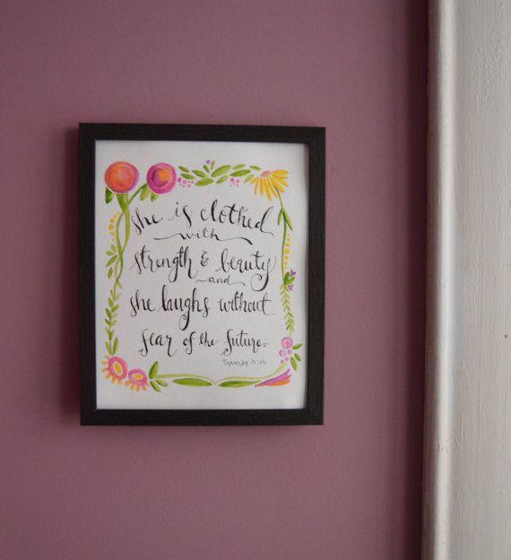 Modern calligraphy watercolor print sweet as a peach