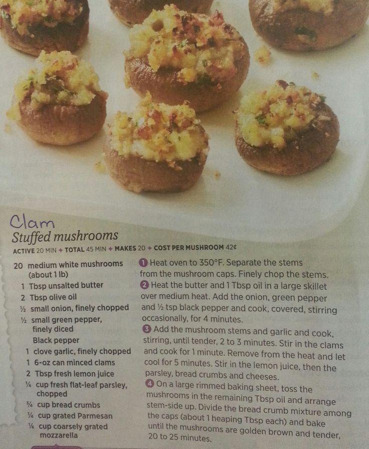 Clam Stuffed Mushrooms   Recipes- Vegetables & Fruit   Pinterest
