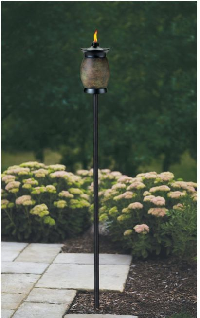 Backyard Tiki Torches : Tiki Torch Citronella Outdoor Backyard Patio Iron Pole Stone Resin Fi
