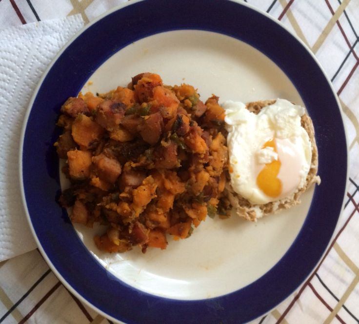 My Sweet Potato Hash with Chicken Sausage & poached egg on 1/2 a ...